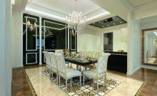 Elegant Dining room in modern home with marble floor